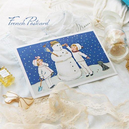 フランス クリスマスポストカード  ( 完成 雪だるま! 幼子 犬)【画像6】