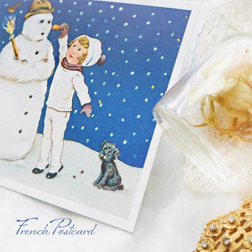 フランス クリスマスポストカード  ( 完成 雪だるま! 幼子 犬)【画像7】