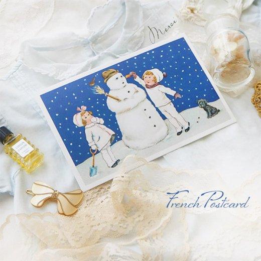 フランス クリスマスポストカード  ( 完成 雪だるま! 幼子 犬)【画像8】