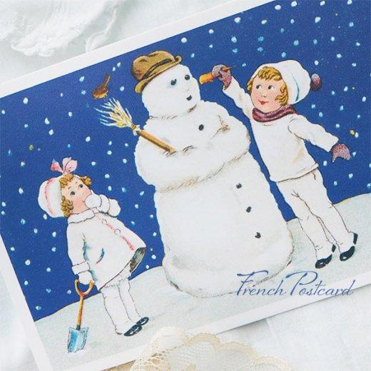 フランス クリスマスポストカード  ( 完成 雪だるま! 幼子 犬)【画像9】