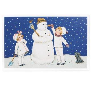 フランス クリスマスポストカード  ( 完成 雪だるま! 幼子 犬)