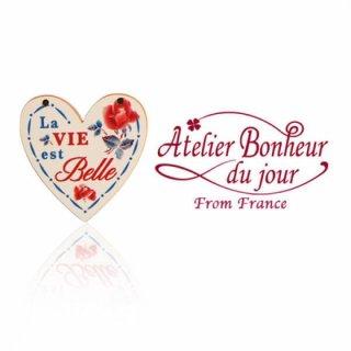 アトリエボヌールドゥジュール  フランス輸入ボタン アトリエ・ボヌール・ドゥ・ジュール【ハート La VIE est Belle 人生は素晴らしい】