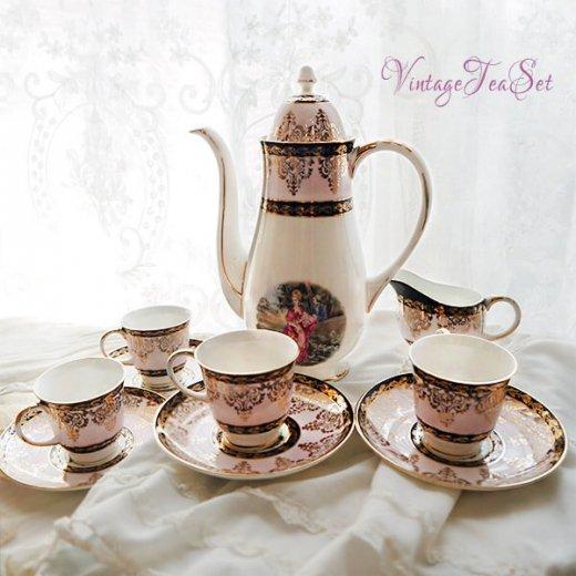 【送料無料】イギリス BONE CHINA ヴィンテージ ガーリー ティー ボーンチャイナ 陶器 10点セット