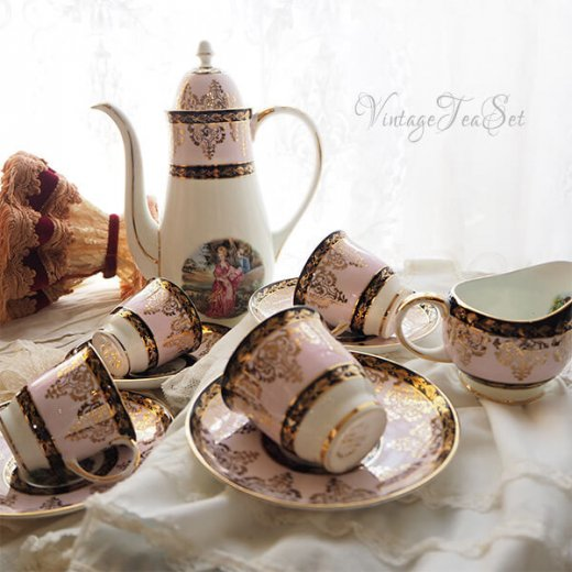 【送料無料】イギリス BONE CHINA ヴィンテージ ガーリー ティー ボーンチャイナ 陶器 10点セット【画像5】
