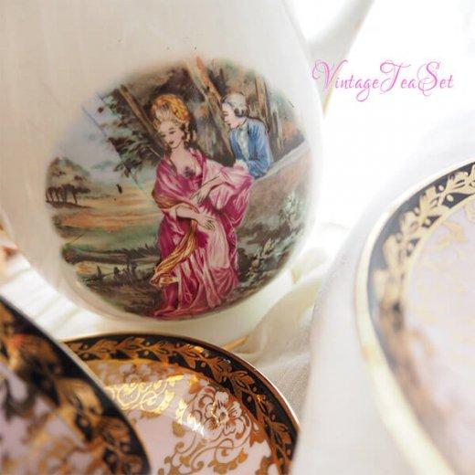 【送料無料】イギリス BONE CHINA ヴィンテージ ガーリー ティー ボーンチャイナ 陶器 10点セット【画像6】