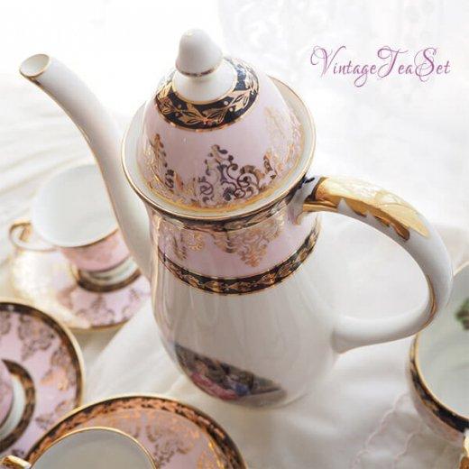 【送料無料】イギリス BONE CHINA ヴィンテージ ガーリー ティー ボーンチャイナ 陶器 10点セット【画像8】
