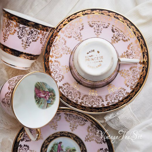 【送料無料】イギリス BONE CHINA ヴィンテージ ガーリー ティー ボーンチャイナ 陶器 10点セット【画像9】
