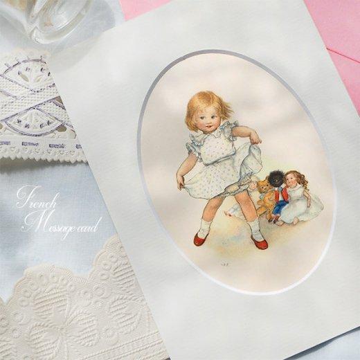 フランス ポストカード マウントボード仕様  封筒セット(女の子 フリル ベア お人形 )【画像2】