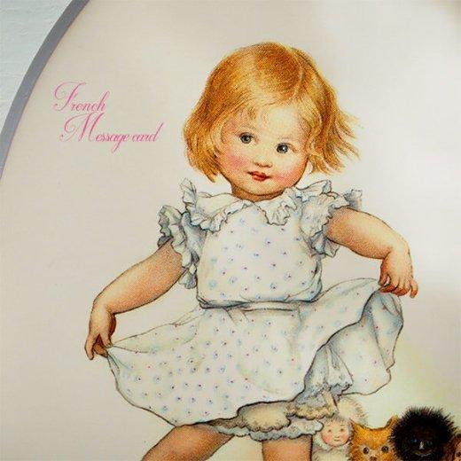 フランス ポストカード マウントボード仕様  封筒セット(女の子 フリル ベア お人形 )【画像3】