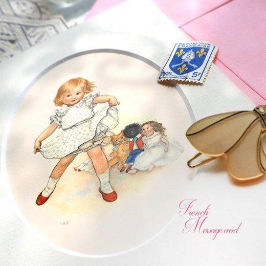 フランス ポストカード マウントボード仕様  封筒セット(女の子 フリル ベア お人形 )【画像4】