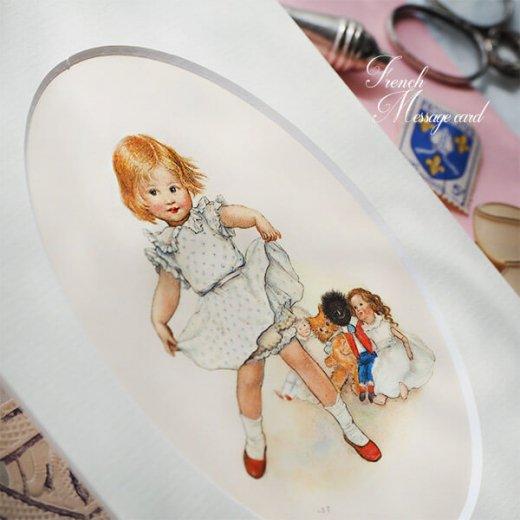 フランス ポストカード マウントボード仕様  封筒セット(女の子 フリル ベア お人形 )【画像5】