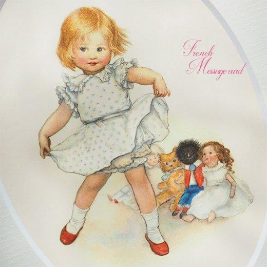 フランス ポストカード マウントボード仕様  封筒セット(女の子 フリル ベア お人形 )【画像6】