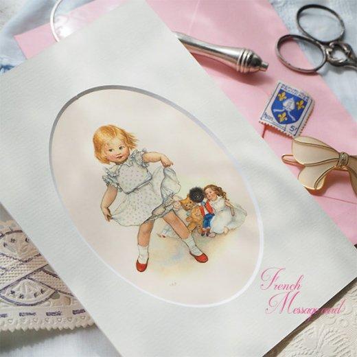 フランス ポストカード マウントボード仕様  封筒セット(女の子 フリル ベア お人形 )【画像8】