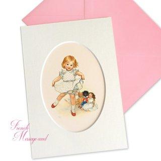 フランス ポストカード マウントボード仕様  封筒セット(女の子 フリル ベア お人形 )