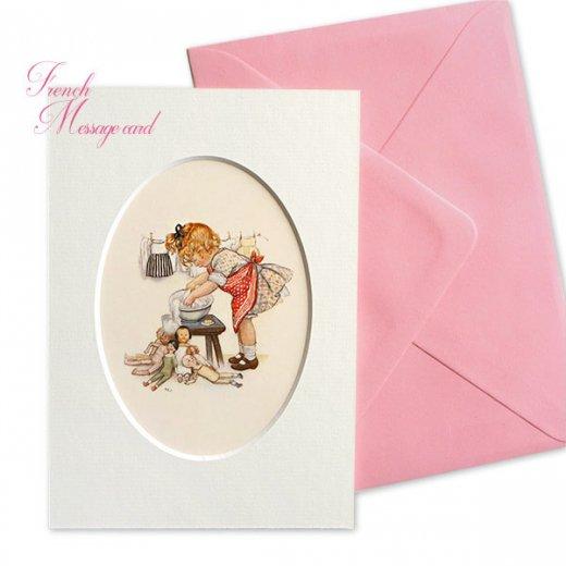 フランス ポストカード マウントボード仕様  封筒セット(女の子 洗濯 エプロン お人形 )