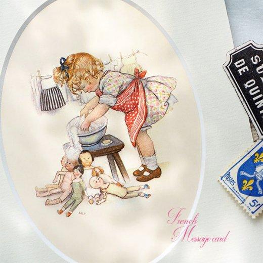 フランス ポストカード マウントボード仕様  封筒セット(女の子 洗濯 エプロン お人形 )【画像2】