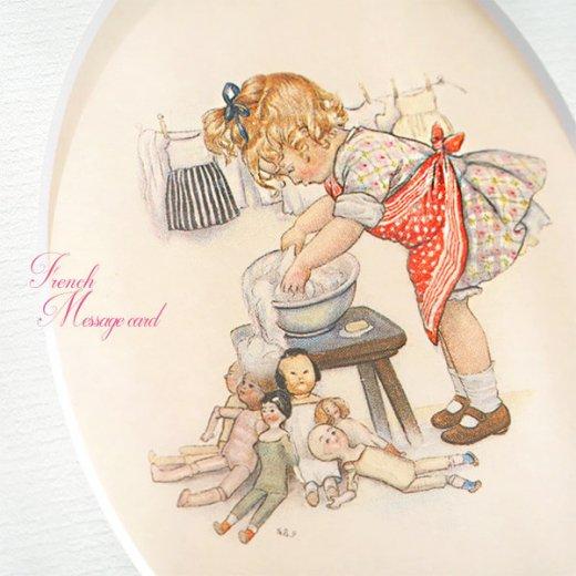 フランス ポストカード マウントボード仕様  封筒セット(女の子 洗濯 エプロン お人形 )【画像3】