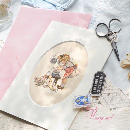 フランス ポストカード マウントボード仕様  封筒セット(女の子 洗濯 エプロン お人形 )【画像4】