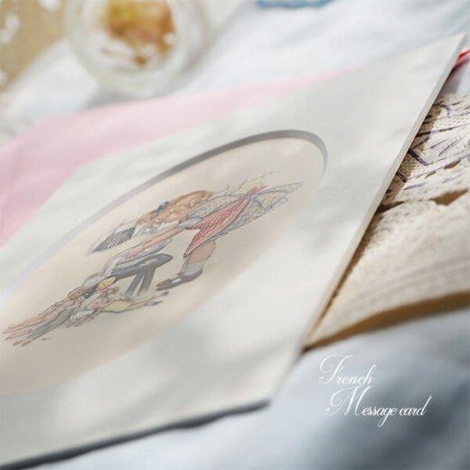 フランス ポストカード マウントボード仕様  封筒セット(女の子 洗濯 エプロン お人形 )【画像5】