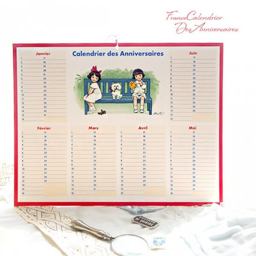フランス製 壁掛けボード アニバーサリーカレンダー(Calendrier des Anniversaires 女の子 男の子 ワンちゃん ぬいぐるみ リボン ハート 小鳥)【画像8】