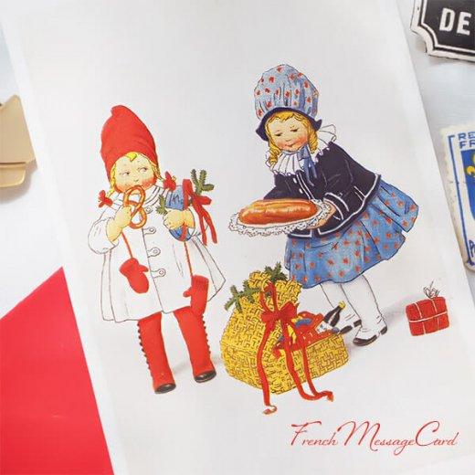 フランス ミニメッセージカード  封筒セット(女の子 プレッツェル  Brezel クリスマス プレゼントもみの木)【画像2】