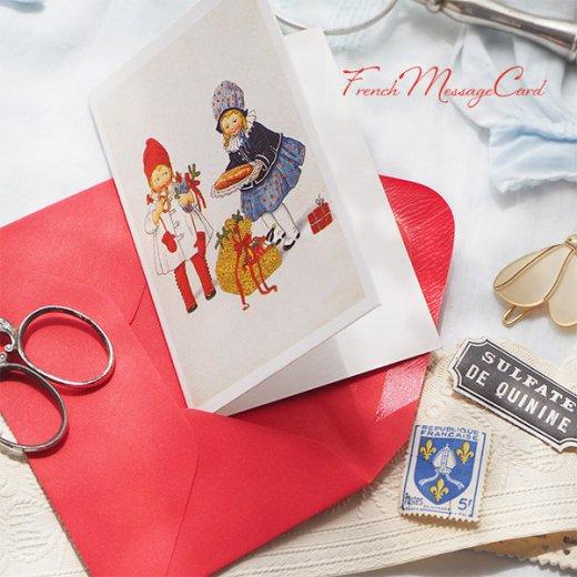 フランス ミニメッセージカード  封筒セット(女の子 プレッツェル  Brezel クリスマス プレゼントもみの木)【画像3】