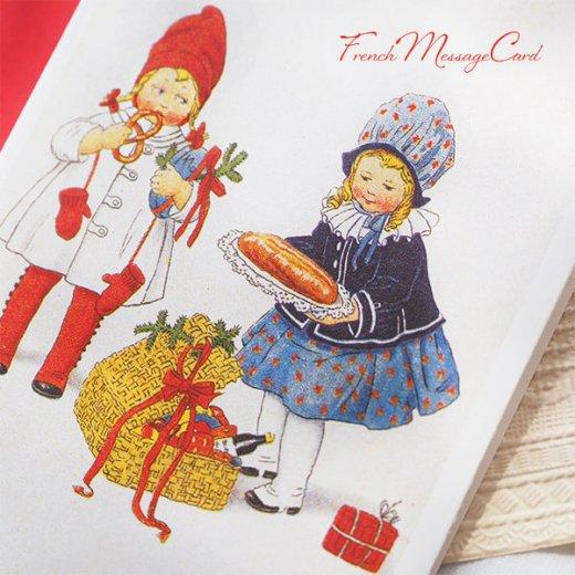 フランス ミニメッセージカード  封筒セット(女の子 プレッツェル  Brezel クリスマス プレゼントもみの木)【画像4】