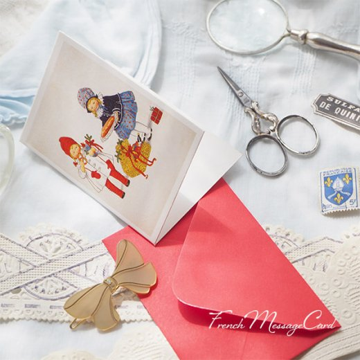 フランス ミニメッセージカード  封筒セット(女の子 プレッツェル  Brezel クリスマス プレゼントもみの木)【画像5】
