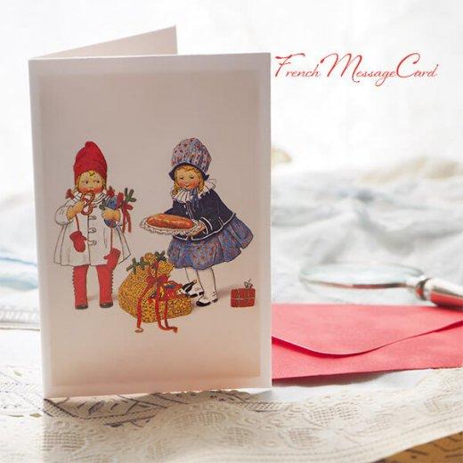 フランス ミニメッセージカード  封筒セット(女の子 プレッツェル  Brezel クリスマス プレゼントもみの木)【画像6】