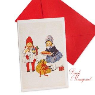 フランス ミニメッセージカード  封筒セット(女の子 プレッツェル  Brezel クリスマス プレゼントもみの木)