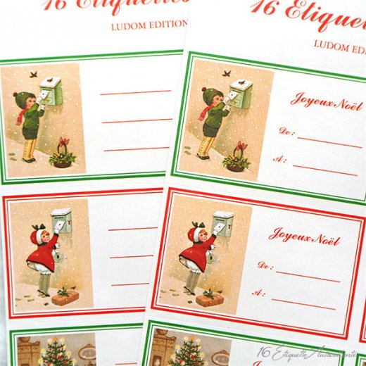 フランス ラベル シール ステッカー 16枚セット(No.13 クリスマス クリスマスツリー お手紙 Joyeux Noel )【画像2】