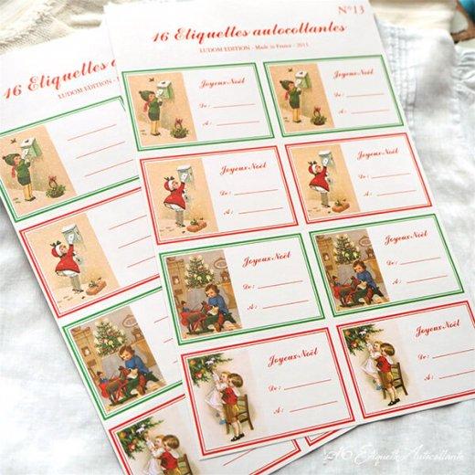 フランス ラベル シール ステッカー 16枚セット(No.13 クリスマス クリスマスツリー お手紙 Joyeux Noel )【画像3】
