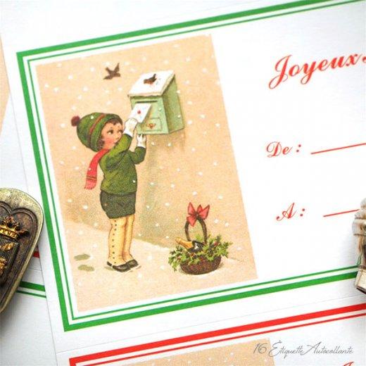 フランス ラベル シール ステッカー 16枚セット(No.13 クリスマス クリスマスツリー お手紙 Joyeux Noel )【画像4】