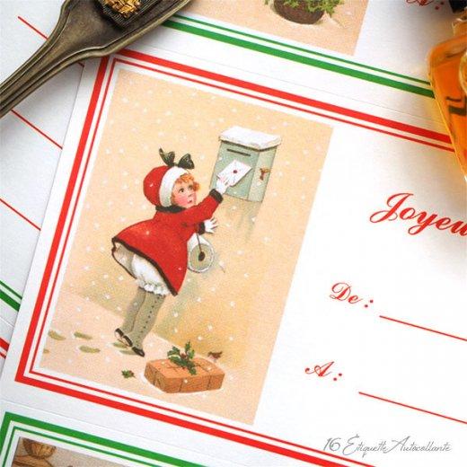 フランス ラベル シール ステッカー 16枚セット(No.13 クリスマス クリスマスツリー お手紙 Joyeux Noel )【画像5】