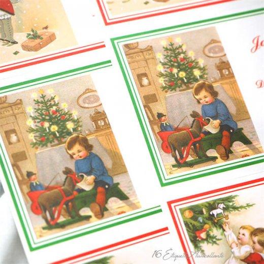 フランス ラベル シール ステッカー 16枚セット(No.13 クリスマス クリスマスツリー お手紙 Joyeux Noel )【画像7】