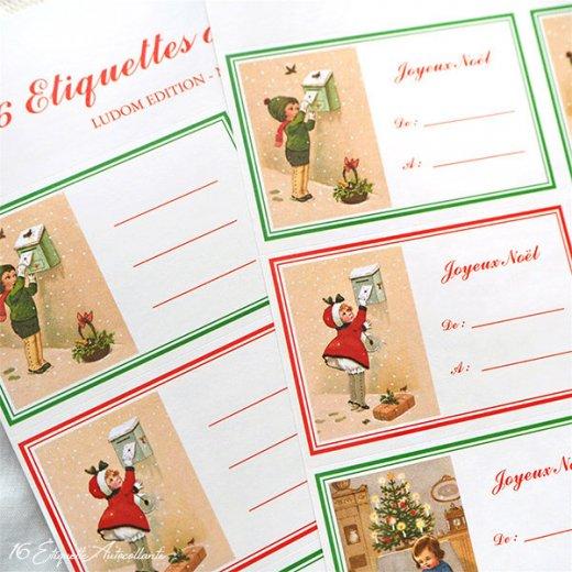 フランス ラベル シール ステッカー 16枚セット(No.13 クリスマス クリスマスツリー お手紙 Joyeux Noel )【画像8】