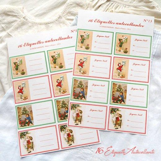 フランス ラベル シール ステッカー 16枚セット(No.13 クリスマス クリスマスツリー お手紙 Joyeux Noel )【画像10】