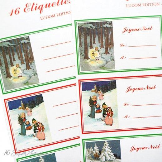 フランス ラベル シール ステッカー 16枚セット(No.14 クリスマス ソリ 森 ランタン クリスマスツリー Joyeux Noel )【画像2】