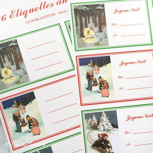 フランス ラベル シール ステッカー 16枚セット(No.14 クリスマス ソリ 森 ランタン クリスマスツリー Joyeux Noel )【画像3】