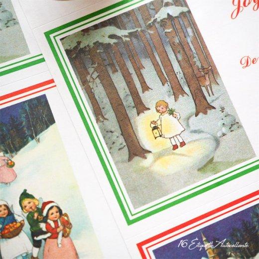 フランス ラベル シール ステッカー 16枚セット(No.14 クリスマス ソリ 森 ランタン クリスマスツリー Joyeux Noel )【画像5】