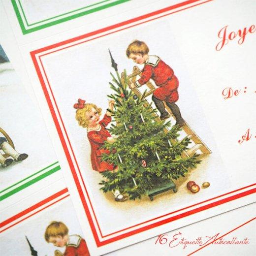 フランス ラベル シール ステッカー 16枚セット(No.14 クリスマス ソリ 森 ランタン クリスマスツリー Joyeux Noel )【画像7】