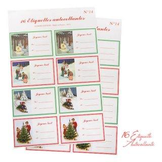 フランス ラベル シール ステッカー 16枚セット(No.14 クリスマス ソリ 森 ランタン クリスマスツリー Joyeux Noel )