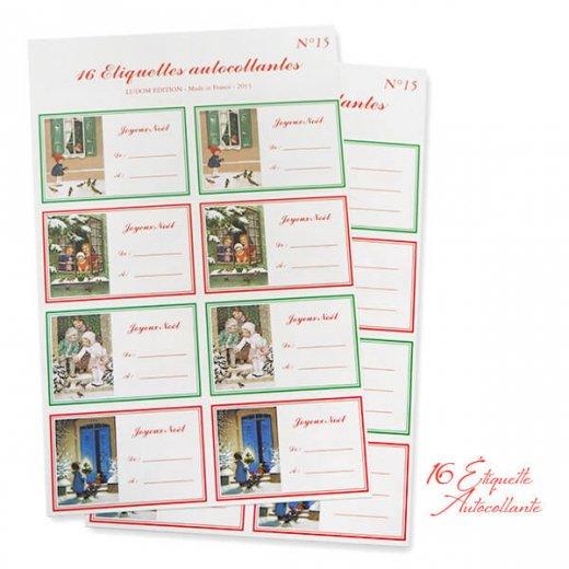 フランス ラベル シール ステッカー 16枚セット(No.15 クリスマス 窓辺 小鳥 クリスマスツリー Joyeux Noel )