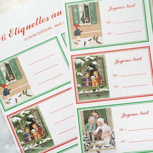 フランス ラベル シール ステッカー 16枚セット(No.15 クリスマス 窓辺 小鳥 クリスマスツリー Joyeux Noel )【画像2】