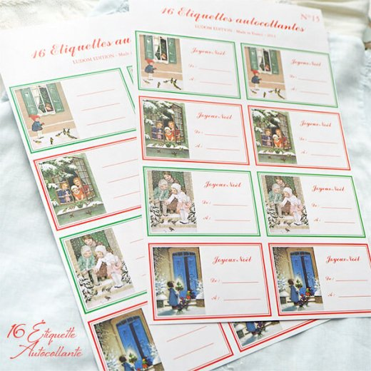フランス ラベル シール ステッカー 16枚セット(No.15 クリスマス 窓辺 小鳥 クリスマスツリー Joyeux Noel )【画像3】