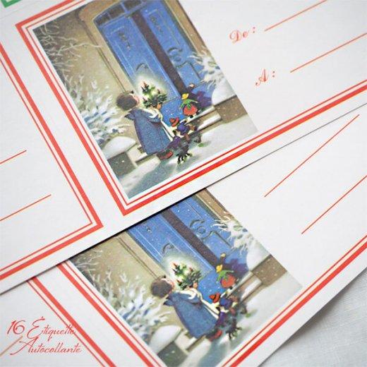 フランス ラベル シール ステッカー 16枚セット(No.15 クリスマス 窓辺 小鳥 クリスマスツリー Joyeux Noel )【画像4】