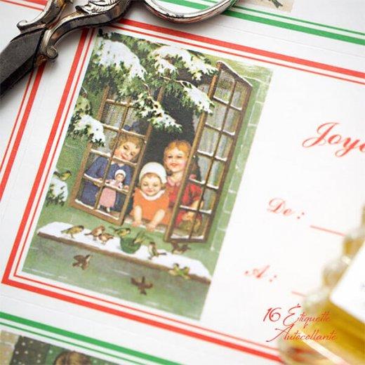 フランス ラベル シール ステッカー 16枚セット(No.15 クリスマス 窓辺 小鳥 クリスマスツリー Joyeux Noel )【画像5】