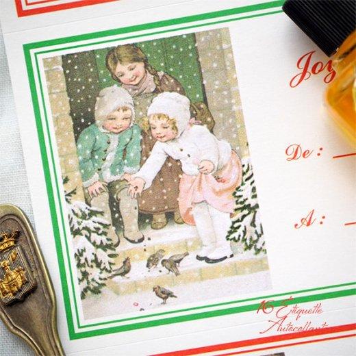 フランス ラベル シール ステッカー 16枚セット(No.15 クリスマス 窓辺 小鳥 クリスマスツリー Joyeux Noel )【画像6】