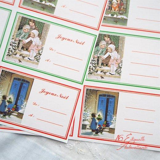 フランス ラベル シール ステッカー 16枚セット(No.15 クリスマス 窓辺 小鳥 クリスマスツリー Joyeux Noel )【画像7】