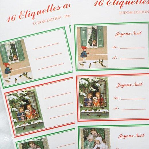 フランス ラベル シール ステッカー 16枚セット(No.15 クリスマス 窓辺 小鳥 クリスマスツリー Joyeux Noel )【画像8】